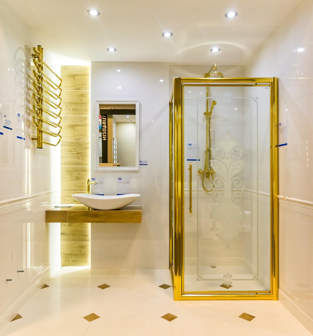 Odcienie luksusu - łazienka w złocie - zdjęcie od BLU salon łazienek Łódź