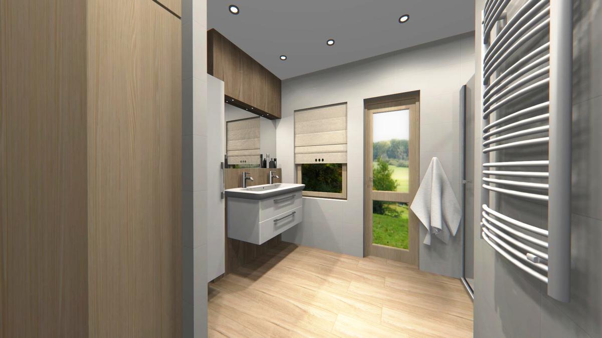 Płytki drewnopodobne w projekcie łazienki salonu Blu w Cieszynie - zdjęcie od BLU salon łazienek Cieszyn