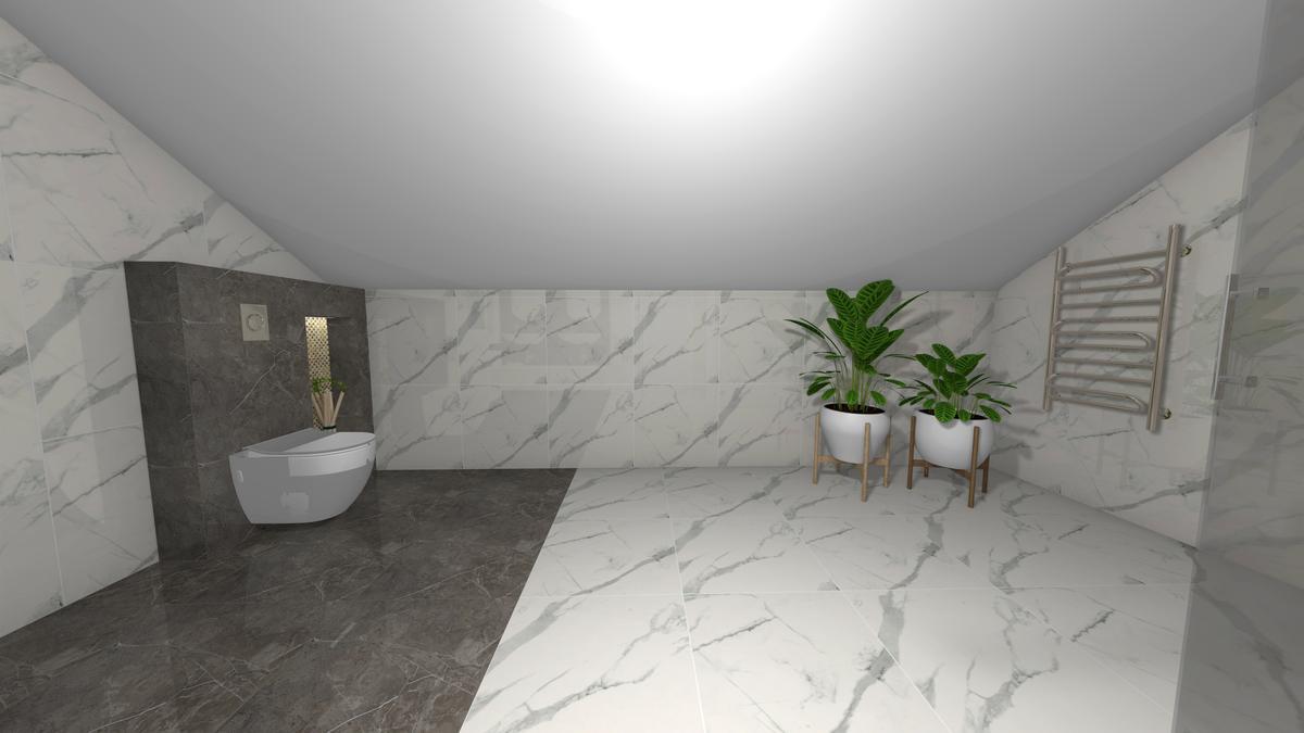 Połączenie białego i grafitowego marmuru w łazience ze skosami - zdjęcie od BLU salon łazienek Krosno