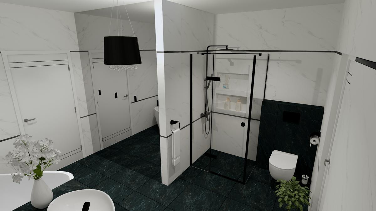 Połączenie bieli i ciemnej zieleni w łazience - zdjęcie od BLU salon łazienek Chełm