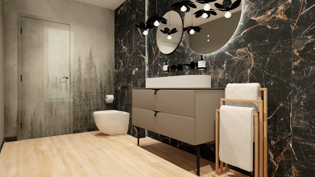 Połączenie ciemnych płytek i jasnego drewna w łazience - zdjęcie od BLU salon łazienek Suwałki