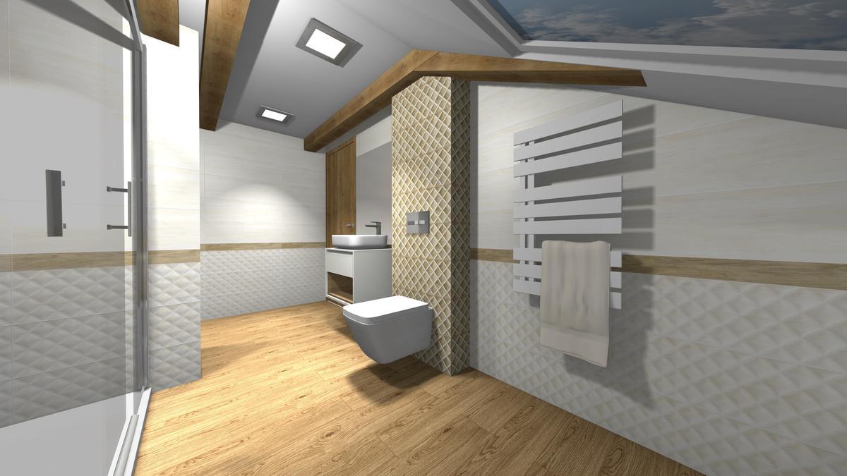 Połączenie drewna i szarości w łazience - zdjęcie od BLU salon łazienek Krosno