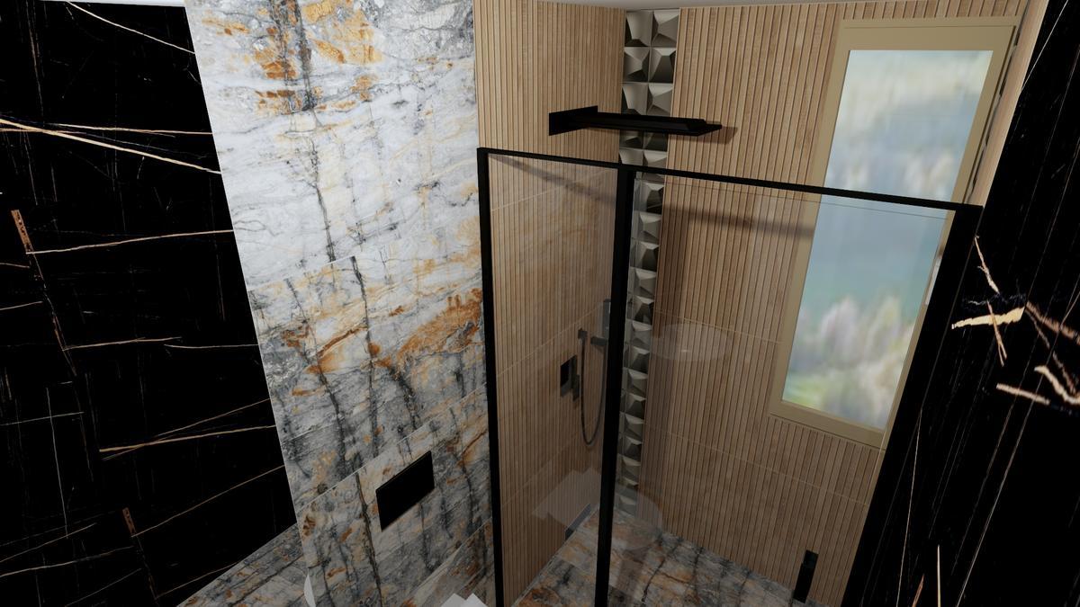 Połączenie drewna, szarości i czerni w łazience - zdjęcie od BLU salon łazienek Chełm