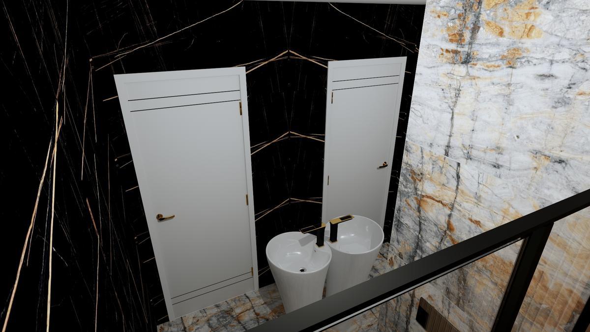 Połączenie dwóch kolorów marmuru tworzące wnętrze w stylu glamour - zdjęcie od BLU salon łazienek Chełm