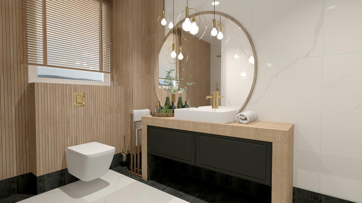 Połączenie wielu stylów w projekcie eleganckiej łazienki - zdjęcie od BLU salon łazienek Suwałki