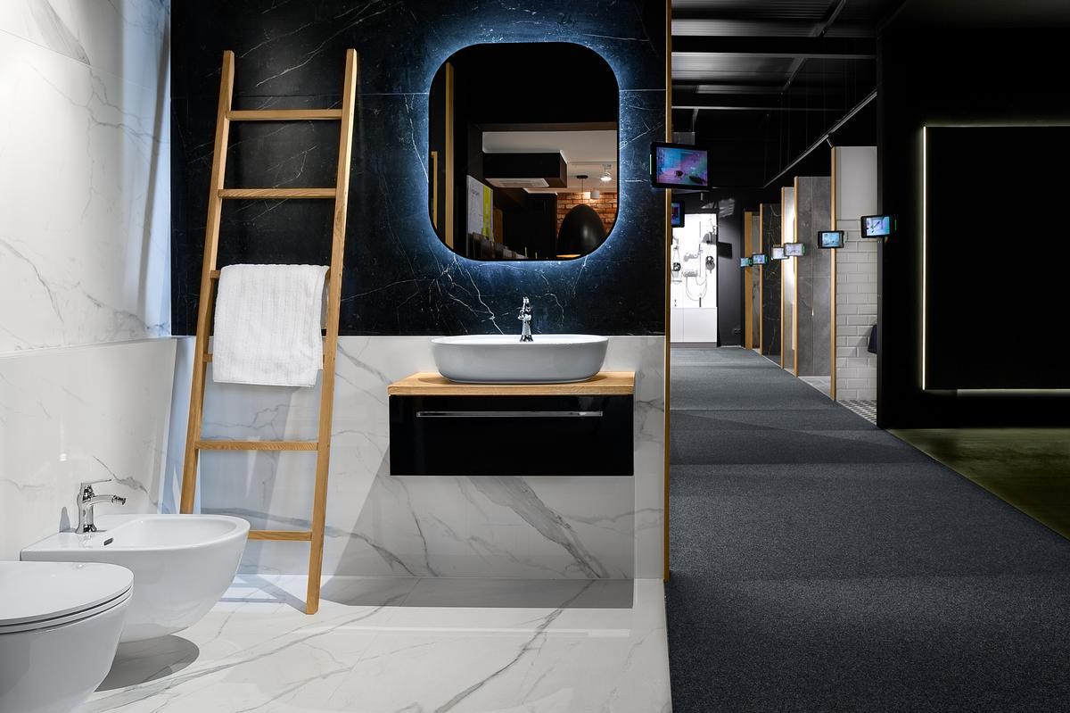 Pomysł na aranżację marmurowej łazienki - zdjęcie od BLU salon łazienek Elbląg