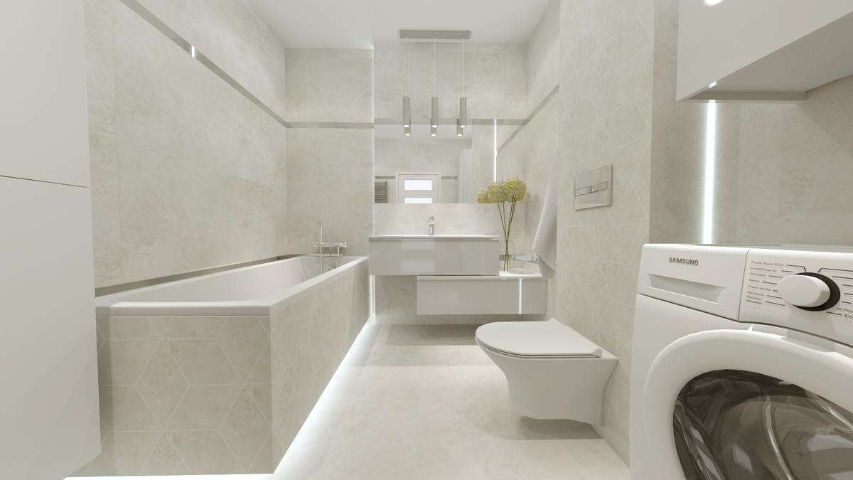 Ponadczasowa klasyka - łazienka w szarościach - zdjęcie od BLU salon łazienek Ostrowiec Świętokrzyski