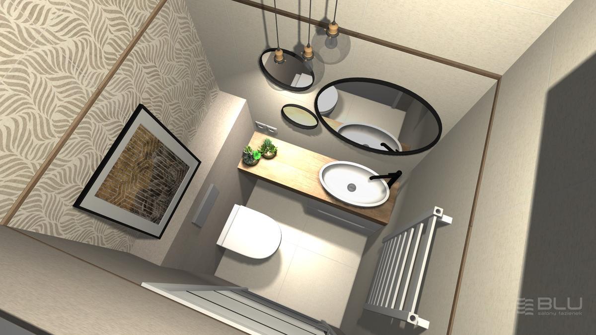 Projekt beżowej łazienki z kolekcją płytek Paradyż Symetry - zdjęcie od BLU salon łazienek Zamość