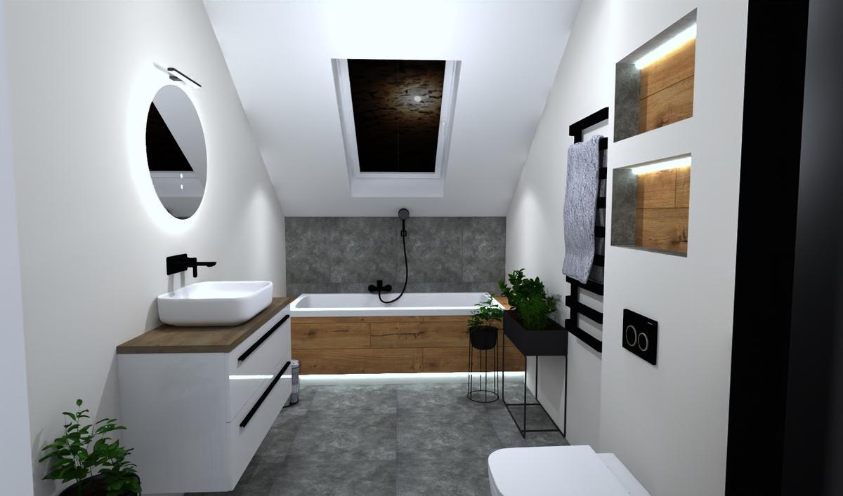 Projekt biało-szarej łazienki pod skosami - zdjęcie od BLU salon łazienek Bielsko-Biała