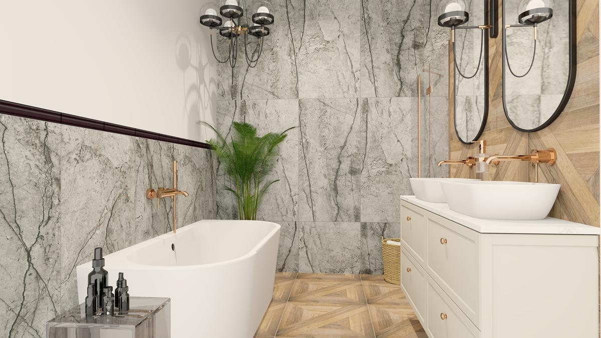 Projekt długiej, wąskiej łazienki dla dwojga - zdjęcie od BLU salon łazienek Suwałki