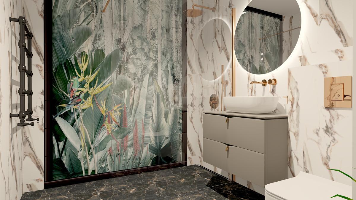 Projekt florystycznej łazienki z płytkami imitującymi kamień - zdjęcie od BLU salon łazienek Suwałki