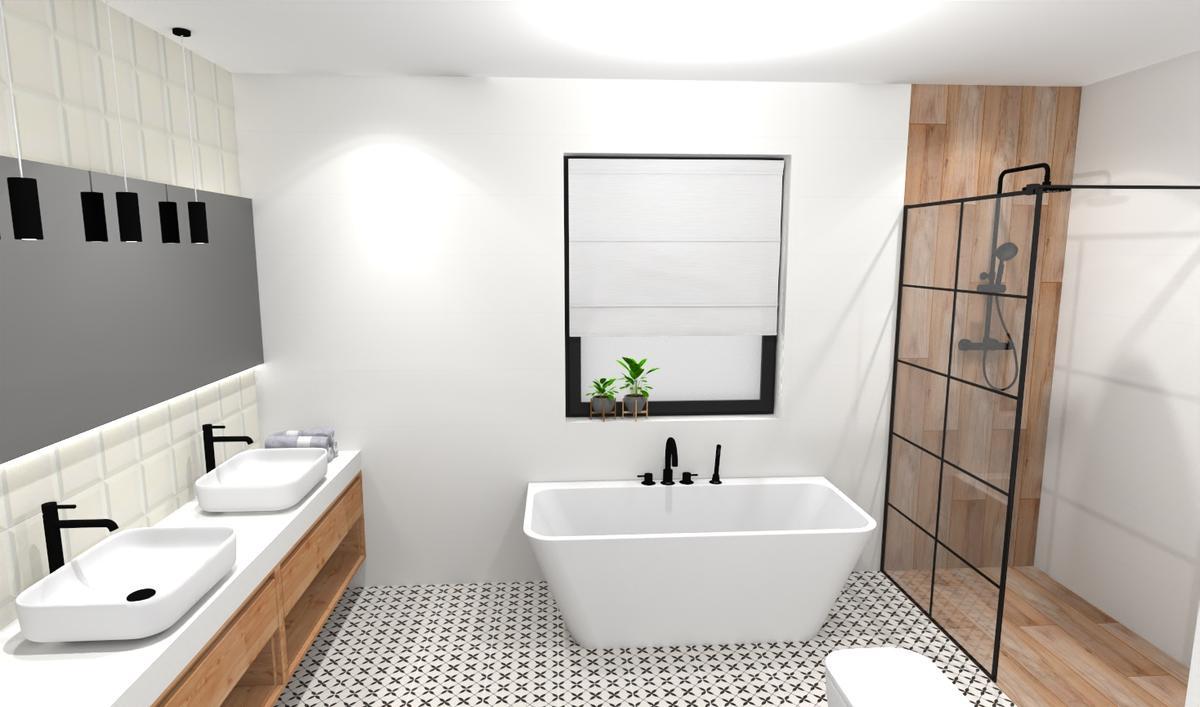 Projekt łazienki dla dwojga z wanną i prysznicem - zdjęcie od BLU salon łazienek Bielsko-Biała