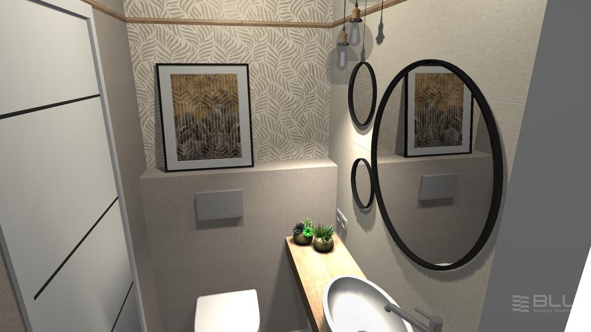 Projekt łazienki z dekoracją ścienną Paradyż Symetry Beige Inserto - zdjęcie od BLU salon łazienek Zamość