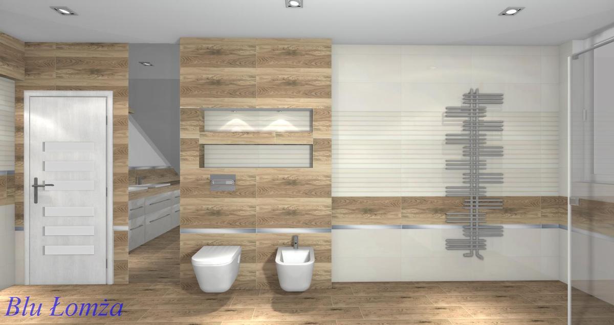 Projekt łazienki z glazury białej i drewnopodobnej Blu Łomża - zdjęcie od BLU salon łazienek Łomża