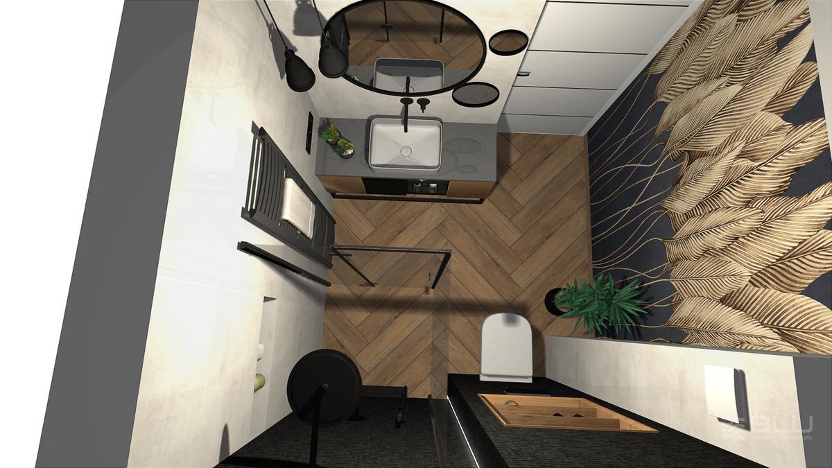 Projekt małej łazienki z płytkami drewnopodobnymi Cerrad Fuerta honey - zdjęcie od BLU salon łazienek Zamość