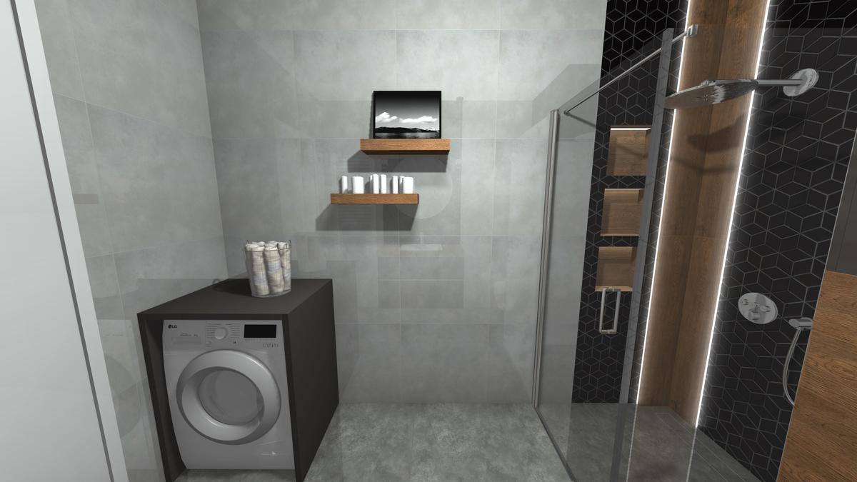Projekt małej łazienki z pralką - zdjęcie od BLU salon łazienek Krosno