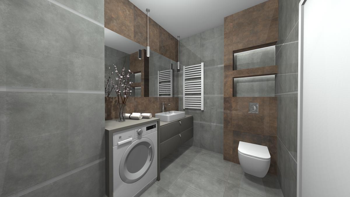 Projekt małej toalety z pralką - zdjęcie od BLU salon łazienek Krosno