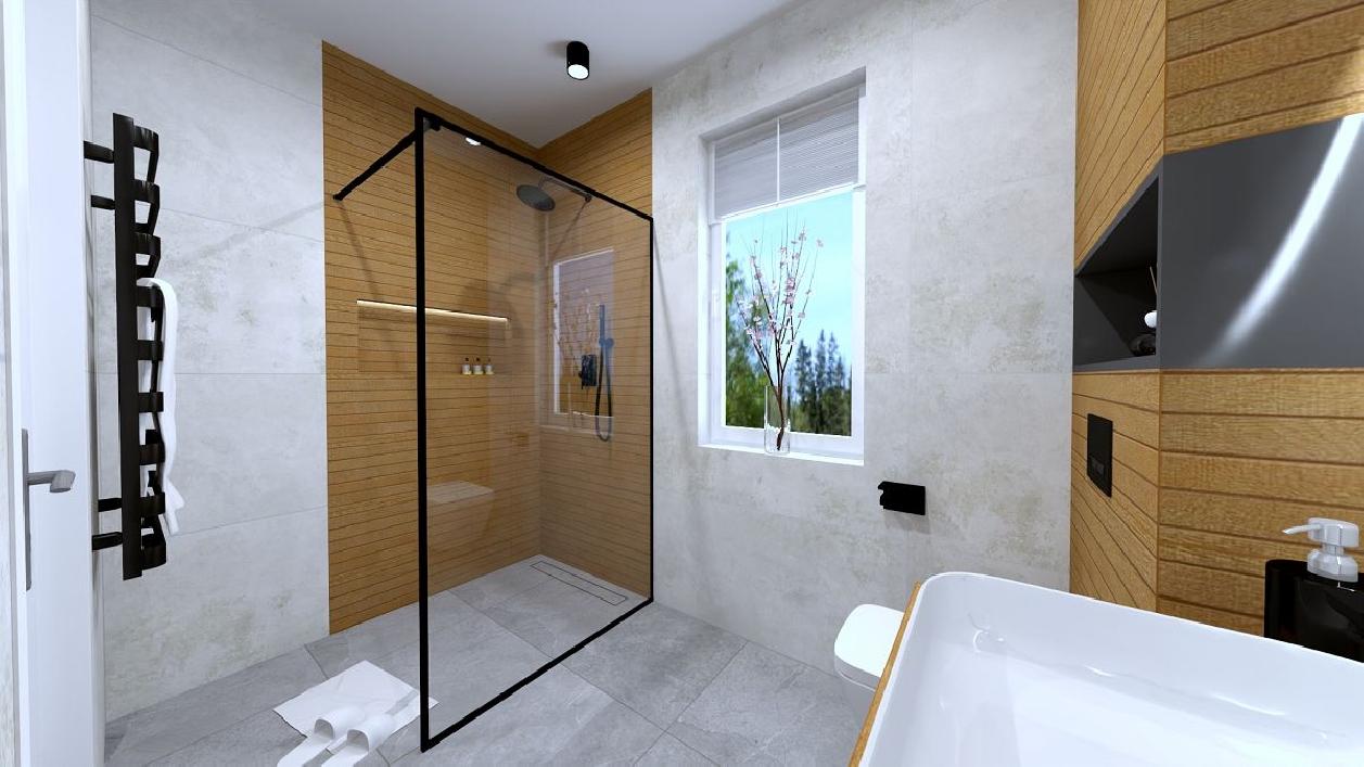 Drewno i beton w projekcie łazienki BLU Rzeszów