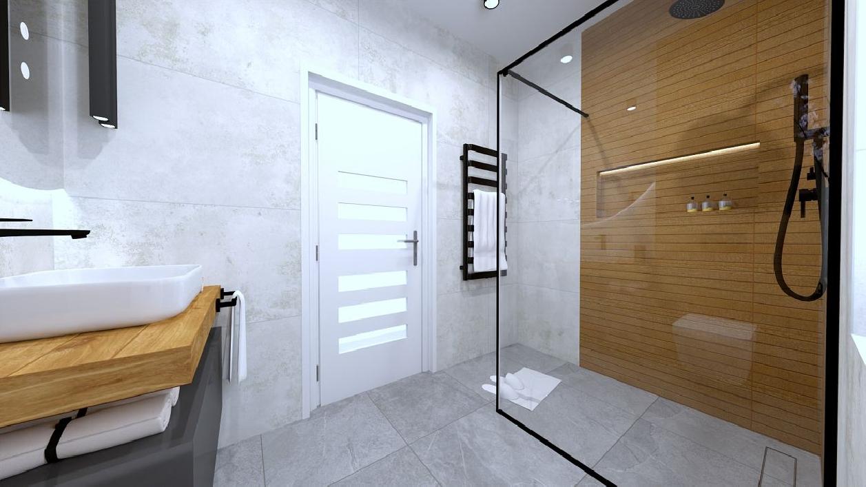 Nowoczesna łazienka z szarymi płytkami i drewnem BLU Rzeszów