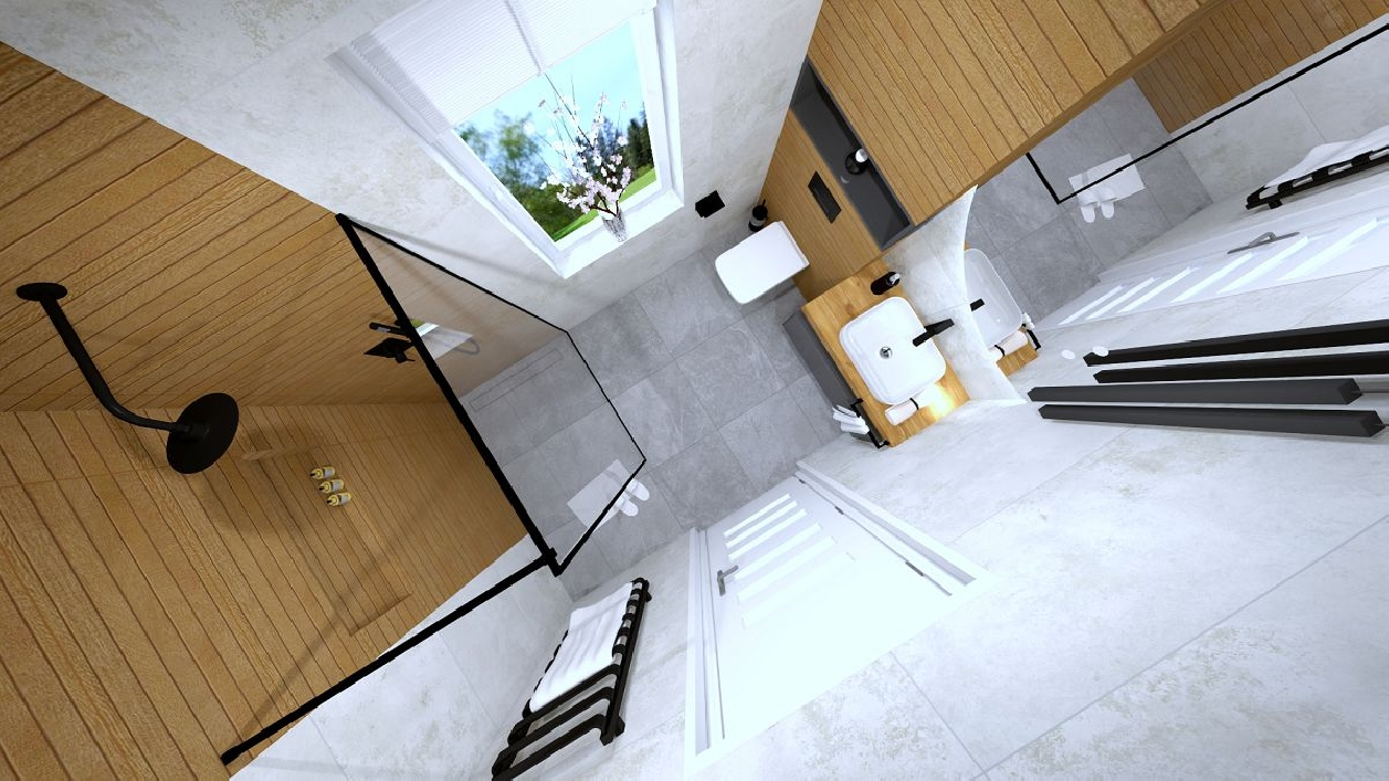 Mała łazienka z kabiną prysznicową w projekcie Salonu Łazienek BLU Rzeszów