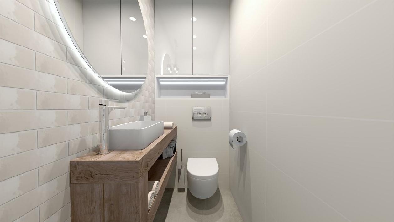 Mała, biała łazienka w projekcie BLU Rzeszów