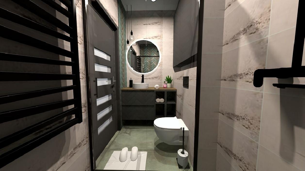 Długa i wąska łazienka w industrialnym stylu BLU Rzeszów