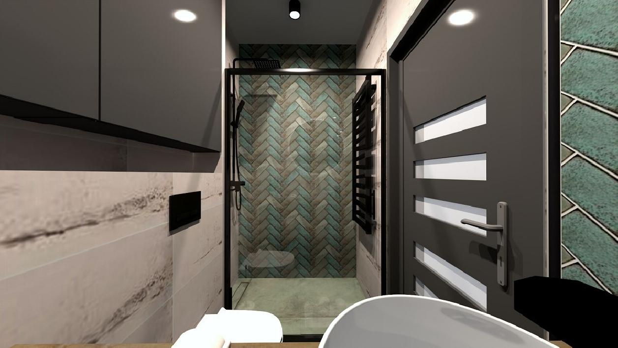 Mała łazienka z płytkami Tubądzin Curio BLU Rzeszów