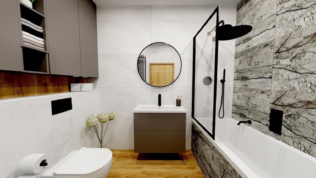Minimalistyczna łazienka z ponadczasowymi płytkami BLU Rzeszów