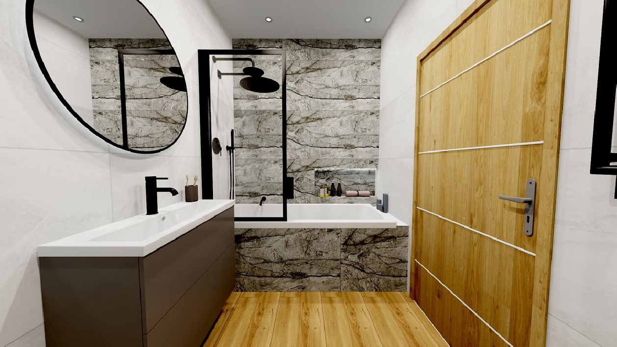 Kamień, biel i drewno w projekcie stylowej łazienki