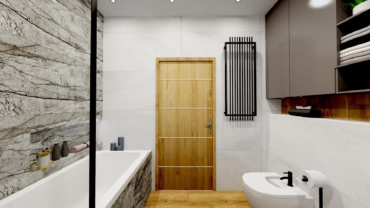 Płytki imitujące kamień w nowoczesnej łazience BLU Rzeszów