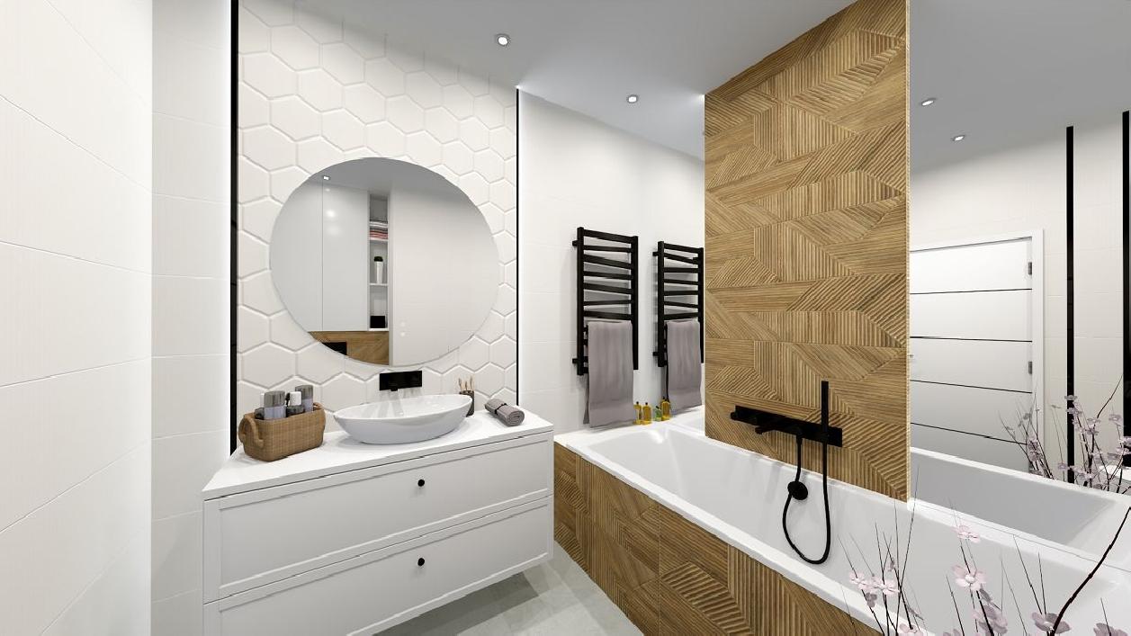 Biel i drewno w projekcie nowoczesnej łazienki BLU Rzeszów