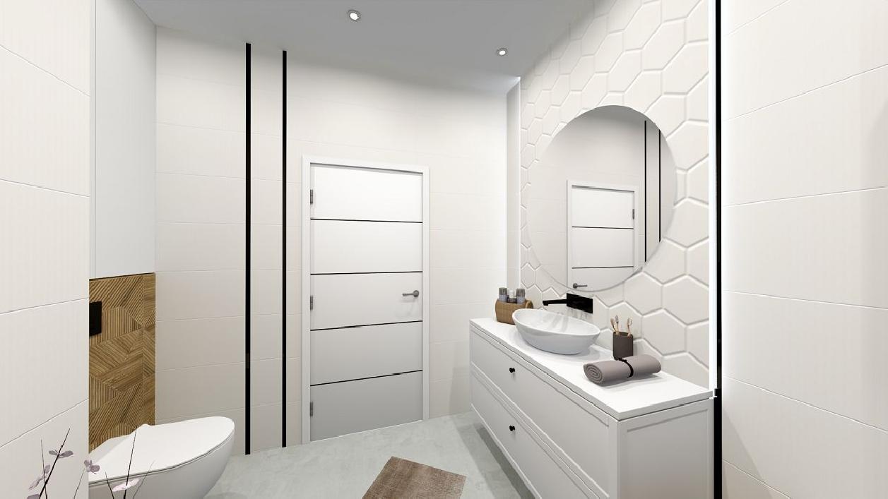 Biała, minimalistyczna łazienka w projekcie BLU Rzeszów