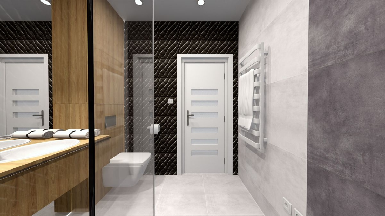 Elegancka łazienka w szarościach, czerni i drewnie BLU Rzeszów
