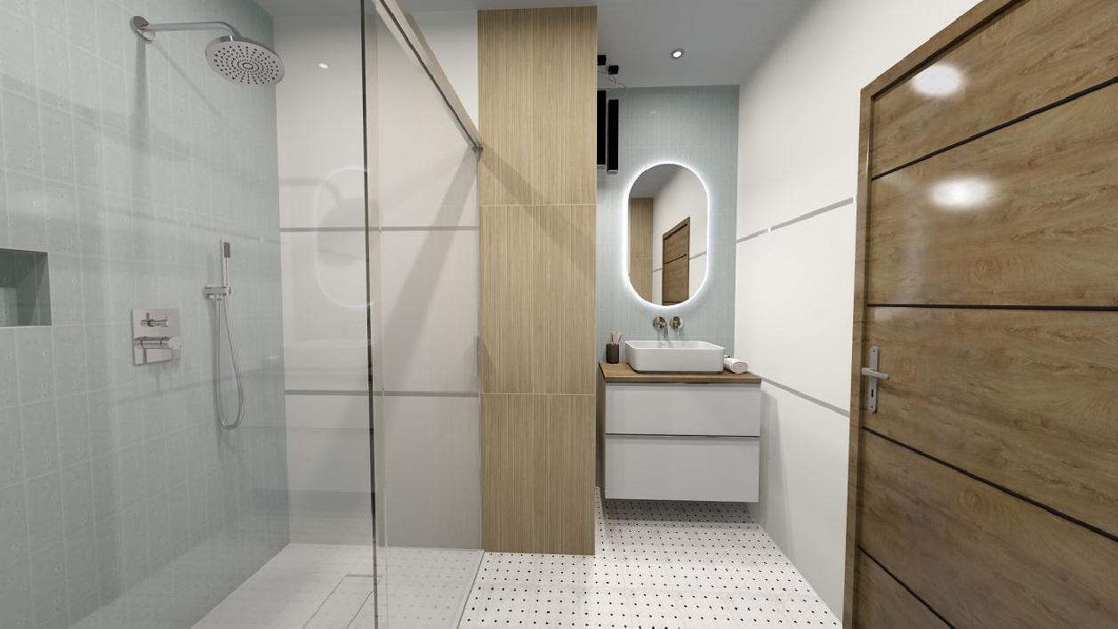 Minimalistyczna łazienka w bieli BLU Rzeszów