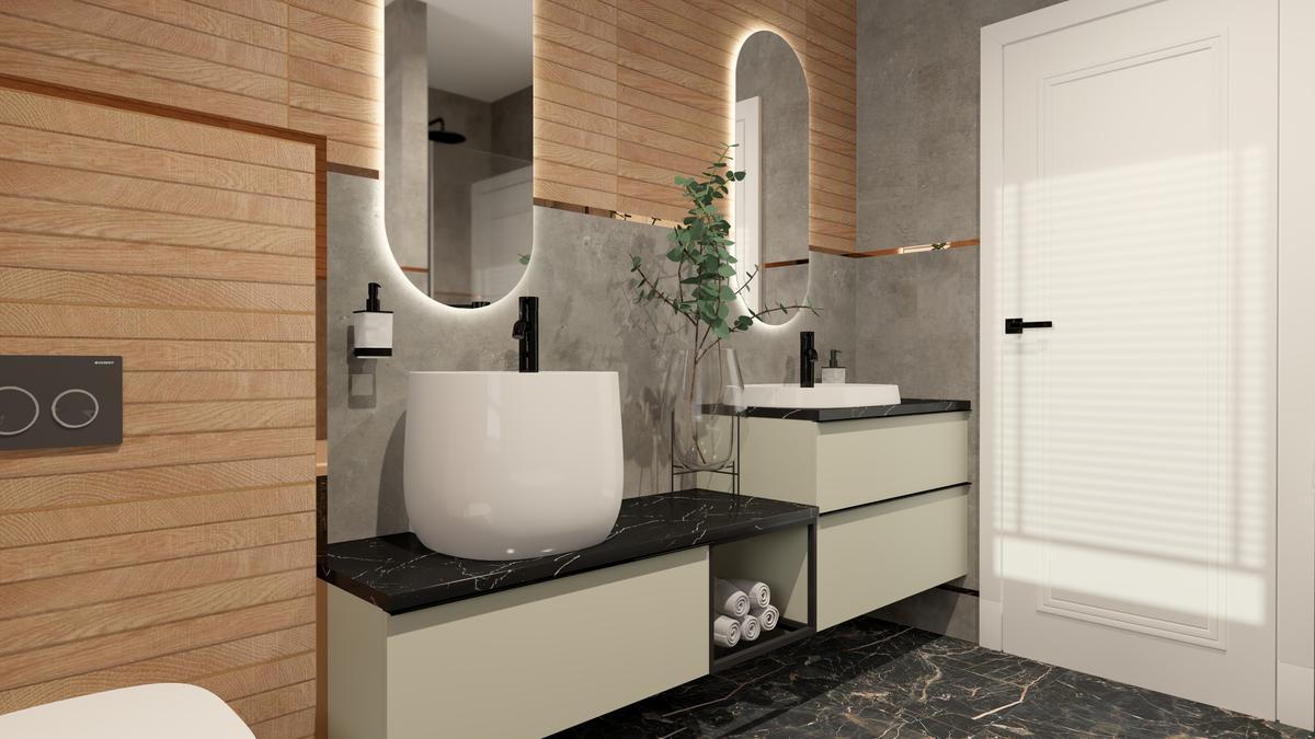 Przestronna strefa umywalkowa w minimalistycznej łazience - zdjęcie od BLU salon łazienek Suwałki