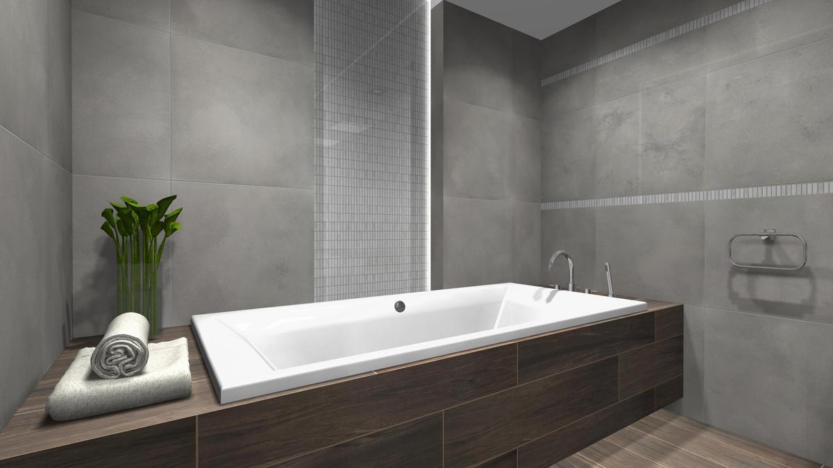 Przykład zabudowy wanny w nowoczesnym projekcie Salonu BLU Cieszyn - zdjęcie od BLU salon łazienek Cieszyn