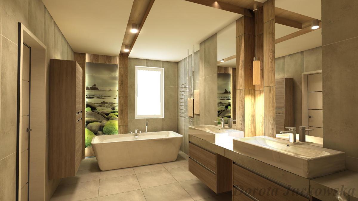 Przytulna łazienka dla dwojga w brązach z kolekcjami Tubądzin - zdjęcie od BLU salon łazienek Iława