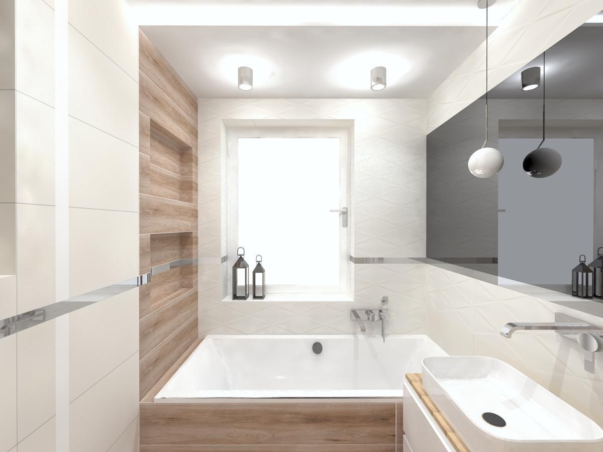 Przytulna łazienka z oknem i dużym lustrem - zdjęcie od BLU salon łazienek Inowrocław