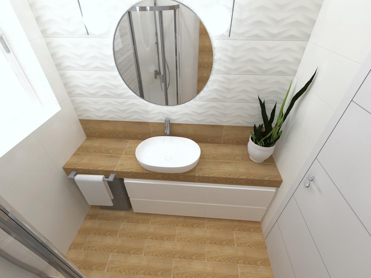 Przytulna łazienka z oknem - zdjęcie od BLU salon łazienek Inowrocław