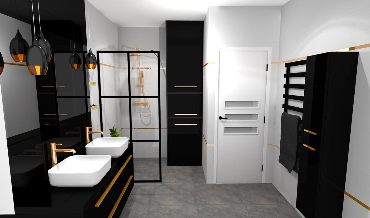Rodzinna łazienka w bieli, czerni i złocie - zdjęcie od BLU salon łazienek Bielsko-Biała