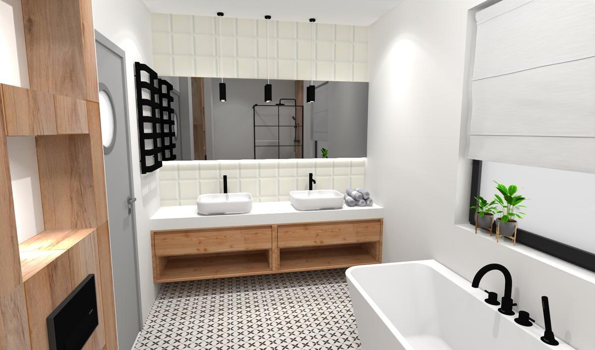 Rodzinna łazienka z patchworkiem - zdjęcie od BLU salon łazienek Bielsko-Biała