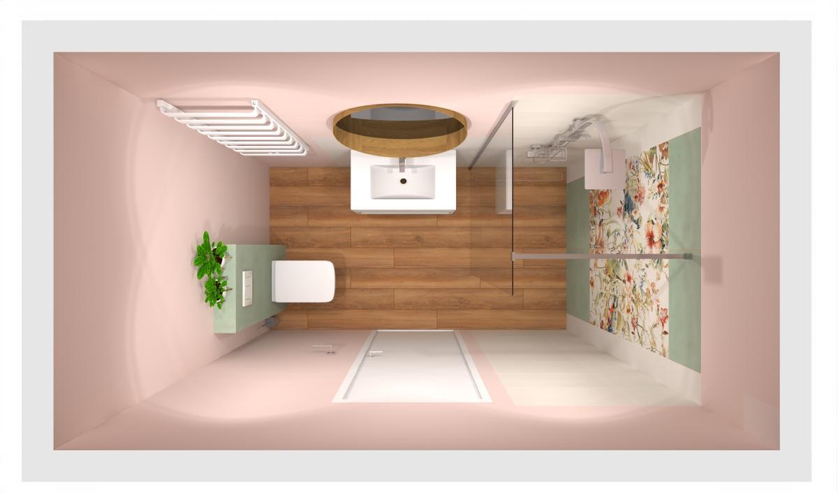 Różowa łazienka z dekoracyjnymi płytkami w kwiaty - zdjęcie od BLU salon łazienek Bielsko-Biała