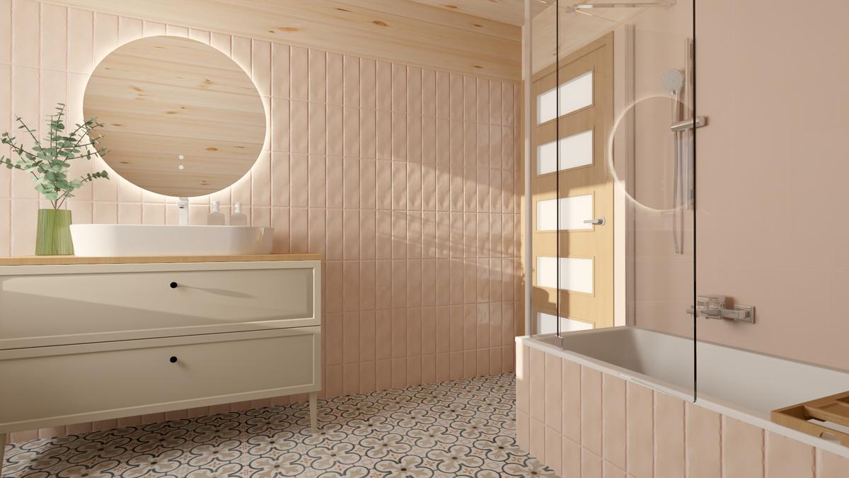Różowe płytki Paradyż Fiori Coral w jasnej łazience - zdjęcie od BLU salon łazienek Suwałki