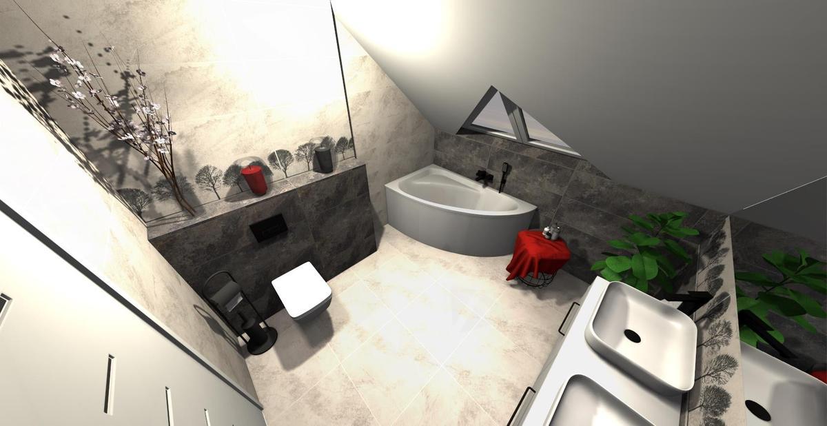 Salon kąpielowy pod skosami z wanną narożną - zdjęcie od BLU salon łazienek Września