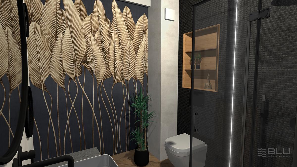 Ściana z motywem liści w aranżacji ciemnej, małej łazienki - zdjęcie od BLU salon łazienek Zamość
