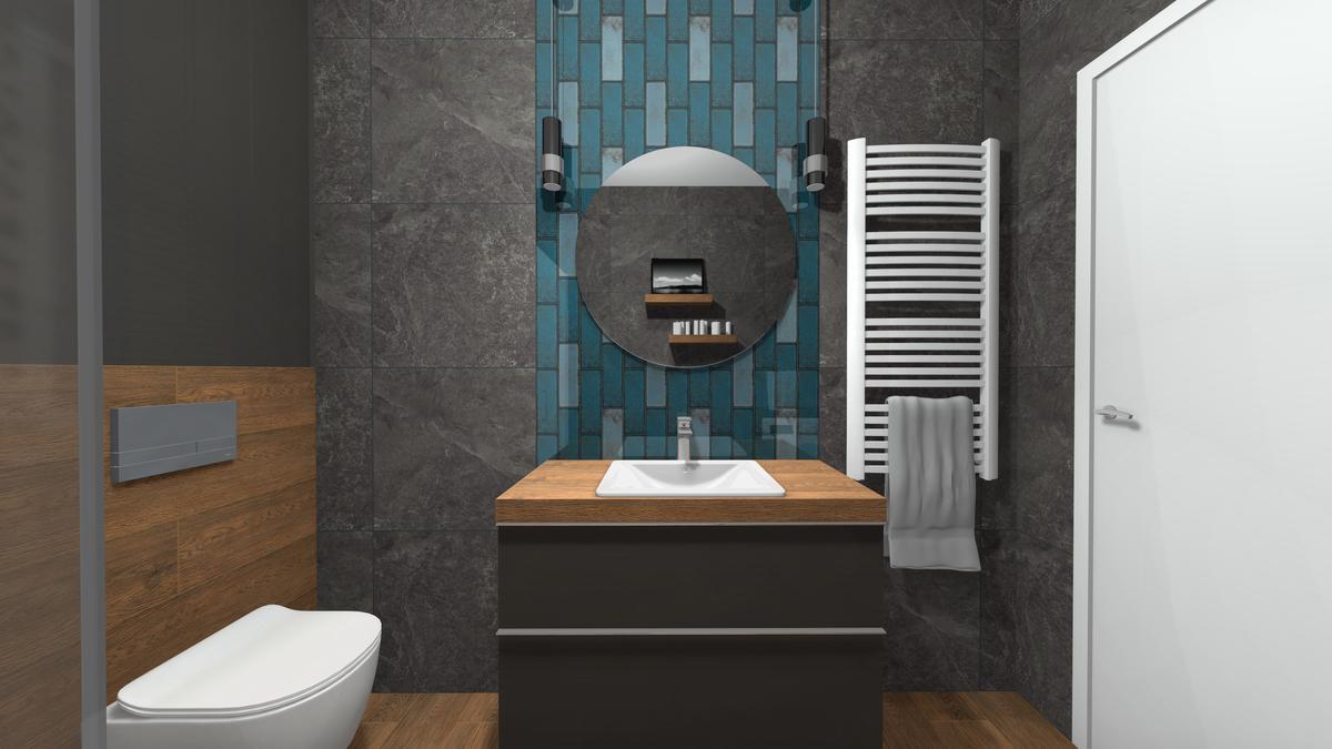 Strefa umywalkowa w grafitowej łazience - zdjęcie od BLU salon łazienek Krosno