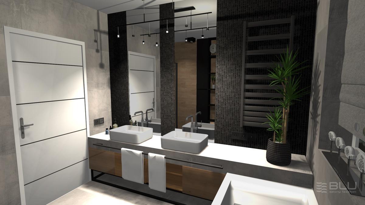 Strefa umywalkowa wykończona szarą mozaiką kwarcytową - zdjęcie od BLU salon łazienek Zamość
