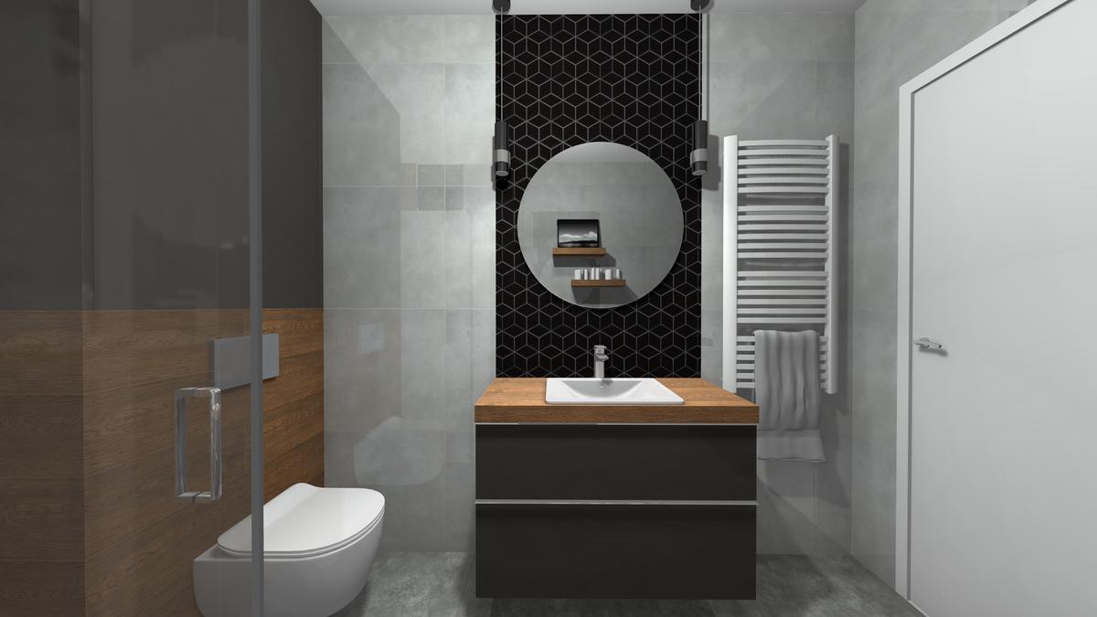 Szafka umywalkowa w graficie i drewnie - zdjęcie od BLU salon łazienek Krosno