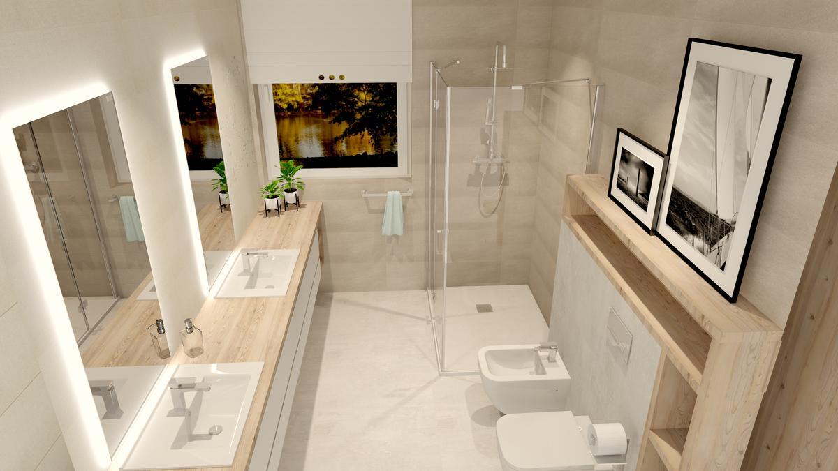 Szara łazienka - aranżacja w płytkach Azario - zdjęcie od BLU Salon Łazienek Tarnobrzeg