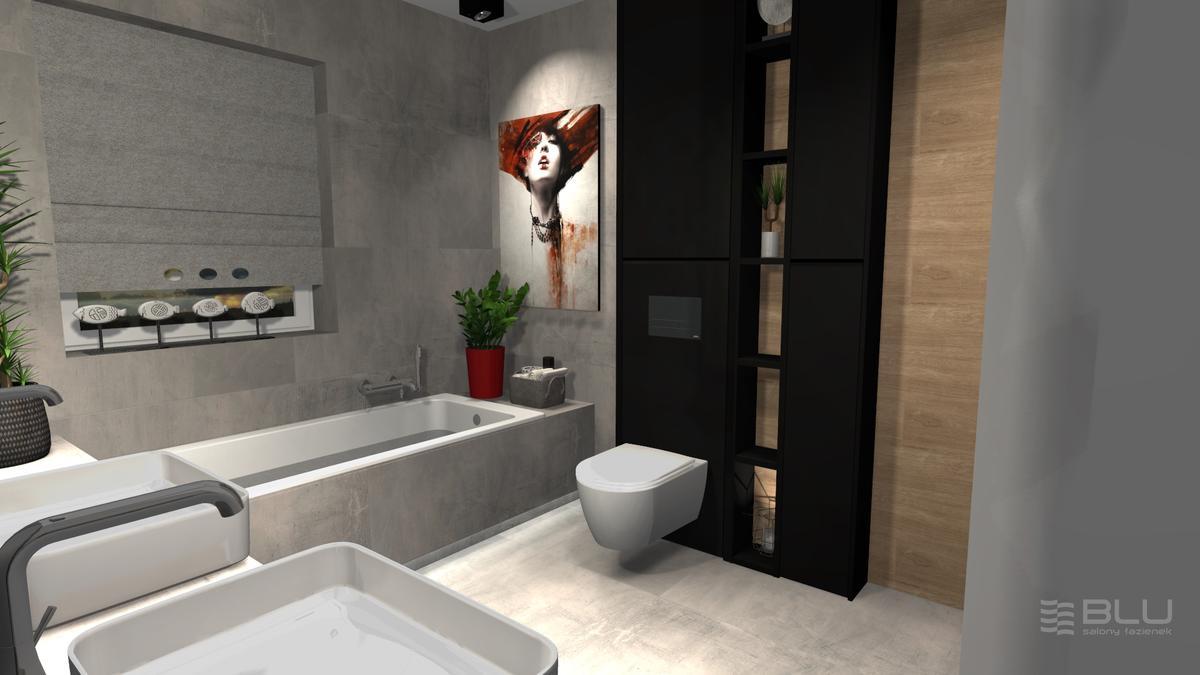 Szara łazienka dla dwojga z płytkami Paradyż Space grafit mat - zdjęcie od BLU salon łazienek Zamość